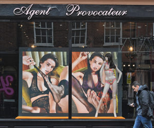 Mandatory Credit: Photo by FACUNDO ARRIZABALAGA/EPA/REX/Shutterstock (8467335g) Pedestrians walk past a branch of the lingerie shop, Agent Provocateur in central London, Britain, 03 March 2017. British media report Agent Provocateur, which has 10 stores in the UK and employs 600 people has been bought by a firm linked to British businessman, Mike Ashley, the owner of Sports Direct. Agent Provocateur in London, United Kingdom - 03 Mar 2017
